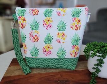 Rainbow Pineapples - Medium Knitting Project Bag, Zipper Yarn Bag, Zippered project tote, yarn caddy, knit bag tote Shawl WM120