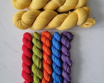 Pixel Pop Shawl Kit - Yarn Only Kit to knit your own shawl (Pattern by Lisa K. Ross)  Deluxe High-Twist Fingering Yarn PPK-YOY