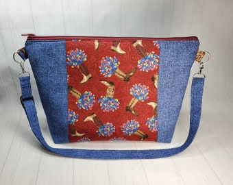 Bluebonnets & Cowboy Boots Large Zipper Knitting Project Bag, sweater or large shawl yarn bag with adjustable cross body strap  WL075