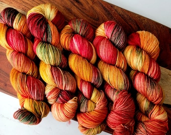 It's Fall Y'All!  Fall Colorway  Deluxe Yarn | Bright Variegated Hand Dyed Yarn Fingering weight | 100% Superwash extrafine merino wool Y016