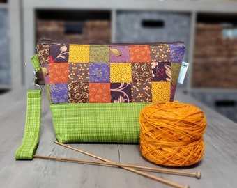 Fall Patchwork (Limited Edition) Small Knitting Crochet Project Bag - Zipper yarn tote sack - shawl socks baby knits PW01