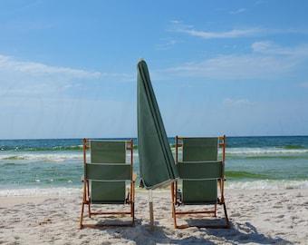 Beach chairs photography, Florida Beach chairs and umbrella wall art, Destin Sandy beach chairs photo