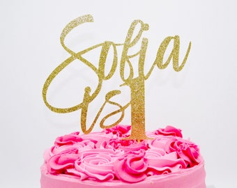 Custom Happy Birthday Cake Topper Name Age 1st First Gold Glitter One