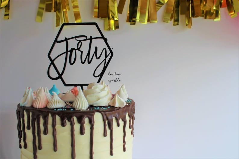 milestone birthday personalised cake topper,acrylic cake topper bespoke cake topper 40 number cake topper Forty acrylic cake topper