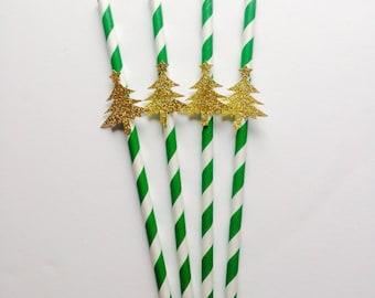 Green white Christmas straws with gold glitter christmas tree.Christmas party, Christmas day christmas xmas decor