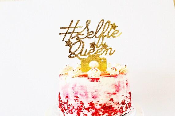 Hashtag Selfie Queen Gold Glitter Birthday Large Cake