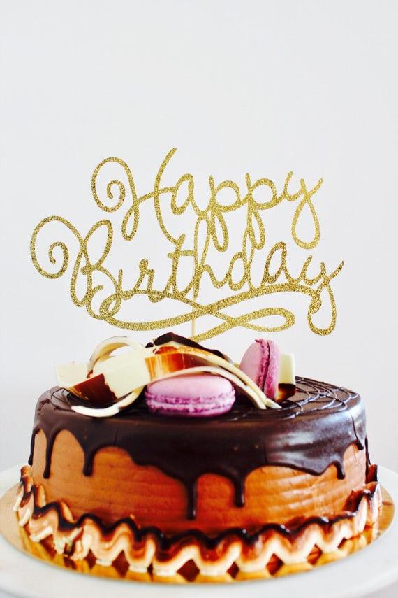 Peachy Happy Birthday Cake Topper Gold Black Glitter Fancy Cake Etsy Funny Birthday Cards Online Barepcheapnameinfo