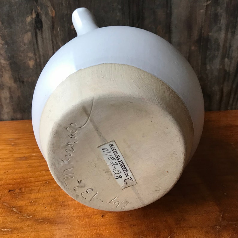Martz Marshall Studios Stoneware Carafe With Leather Accent and Cork Stopper Indiana Pottery
