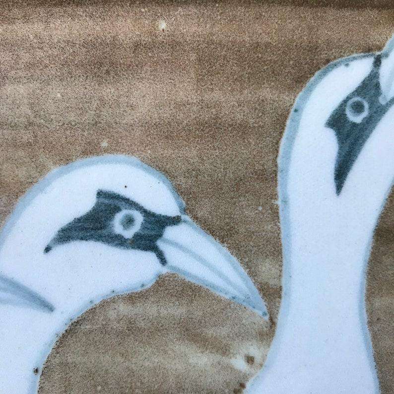 Chris Kroupa Studio Pottery Stoneware Tile Plaque Trivet Three Cranes Washington Pottery
