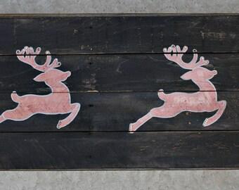 Dancing Deer / Holiday Wood Sign