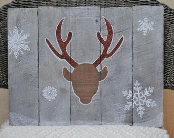 Reindeer with Snowflakes / Holiday Wood Sign
