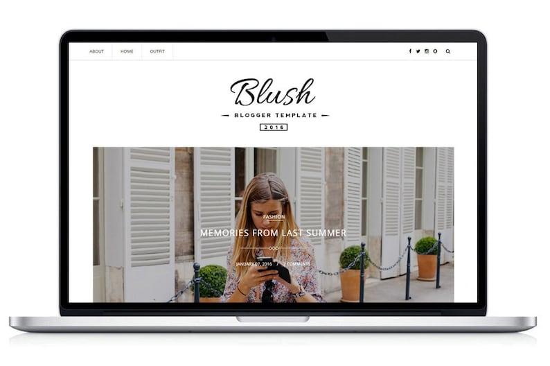 Premade Blogger Template Blush Responsive Blog Theme image 0