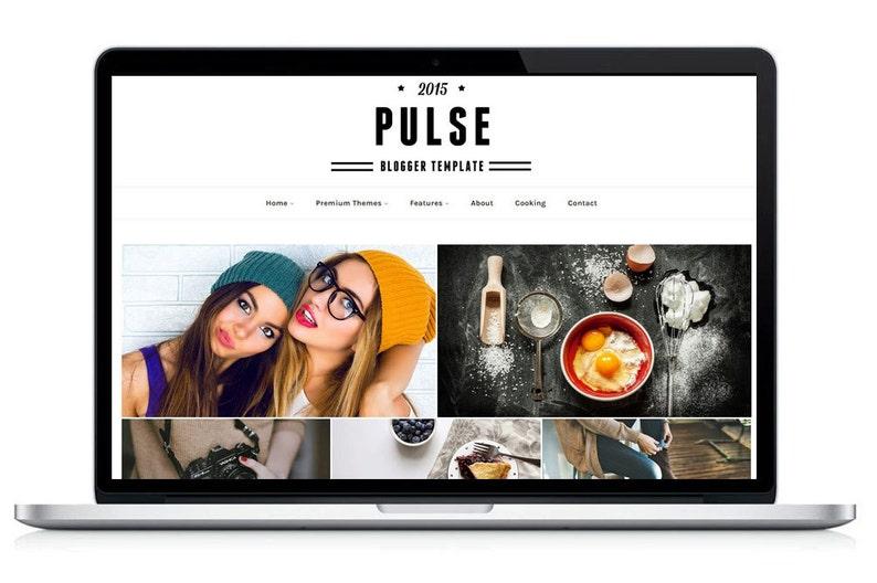 Premade Blogger Template-Pulse Responsive grid blog theme image 0