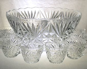 Arlington Punch Bowl Set | One Punch Bowl | Twelve Punch Cups | Anchor Hocking