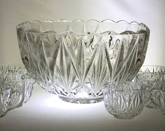 "Hazel Atlas ""Williamsport"" Punch Bowl Set 