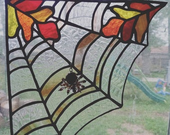 Oak Leaf Stained glass Spider Web with Beaded Spider