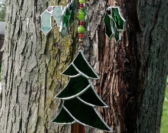 Stained glass Christmas Yule Tree Holly Leaf windchime mobile