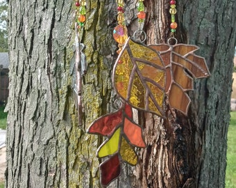Stained glass Autumn leaves beaded windchime mobile