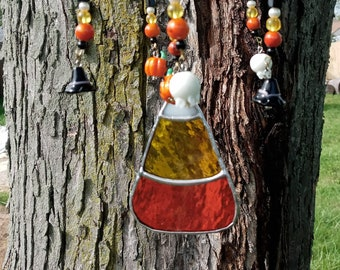 Stained glass Candycorn beaded wind chimes mobile
