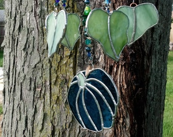 Teal blue Stained glass Pumpkin windchime mobile