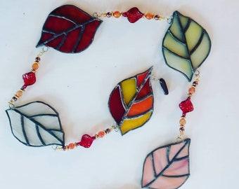 Aspen Leaves Beaded String mobile suncatcher