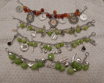 Clearance- Charms and gemstone bead bracelets Occupation Travel Themes