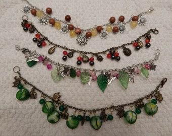 Clearance- Charms and gemstone bead bracelets Animal NatureTheme
