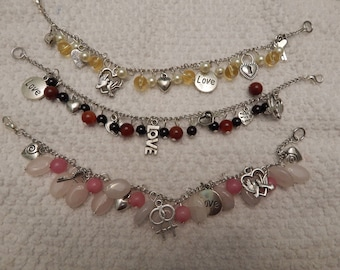 Clearance- Charms and gemstone bead bracelets Heart Theme