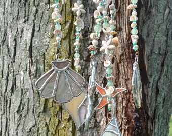Stained glass Seashells windchimes mobile