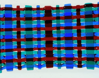 Scottish tartan style plaid Small woven fused glass platex