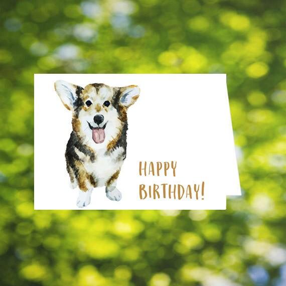 Dog Birthday Card Corgi Printable