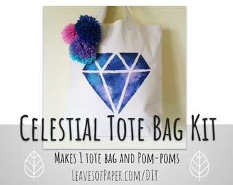 DIY Celestial Tote Bag Kit: Diamond Paint and Sip Project - Craft Party Kit - DIY Craft - DIY Gift for Her - Galaxy - Pom Poms - Girls Night