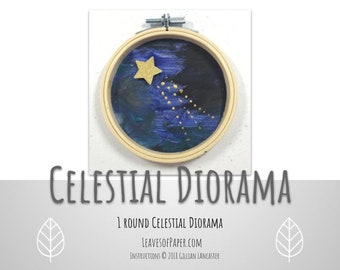 """DIY Celestial Diorama Kit: Create your own starry scene! 4"""" Painting Kit - Complete Craft Kit - Craft Night Activity - DIY Galaxy Wall Art"""