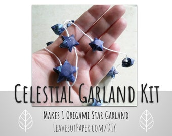 DIY Celestial Garland Kit: Origami Star Garland - Baby Shower - Craft Kit - Creative Gift Under 15 - Fast Shipping - Blue - Father's Day