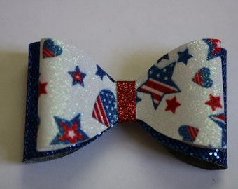 July 4th Hair Bow, 4th of July, Fourth of July, Red, White and Blue Hair Bow, Patriotic Hair Bow, American Hair Bow, Toddler Hair Bow