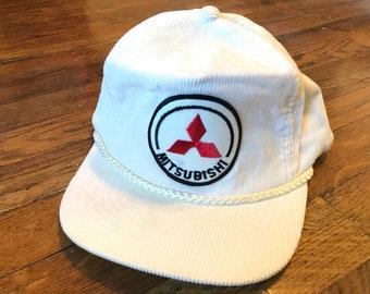8b6944189f1 1980s 90s Mitsubishi White Corduroy Trucker Hat Snapback