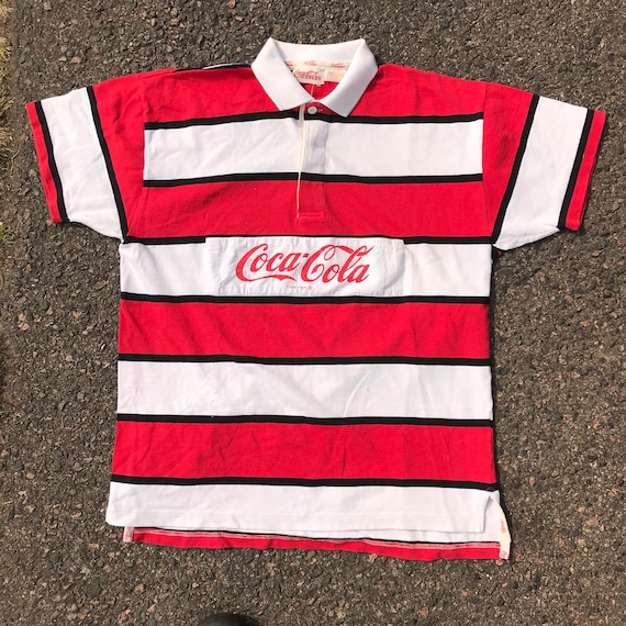 Vintage 1980's Coca Cola Stripe Rugby Polo Shirt S