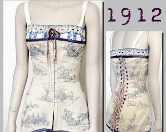 Corset (30cm half waist) Edwardian Reproduction PDF Pattern - 1910's -   made from original 1912  pattern