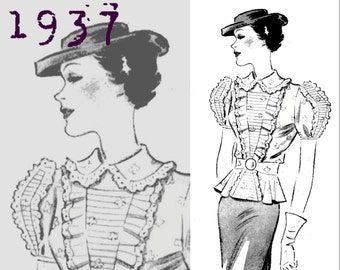 Organdy Blouse (Bust 36 inches) - Vintage Reproduction PDF Pattern - 1930's - made from original 1937 pattern