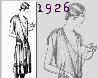 """Lady's Evening Dress - 35"""" Bust -  Vintage Reproduction PDF Pattern - 1920's - made from original 1926 pattern"""