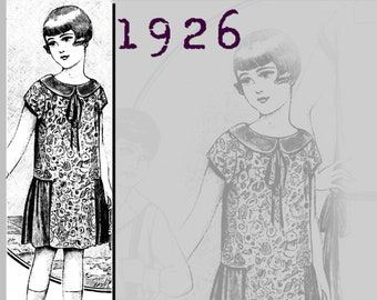 Dress for a girl aged 6-8 - Vintage Reproduction PDF Pattern - 1920's -  made from original 1926 pattern