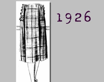 Lady's Checked Sports Skirt - Vintage Reproduction PDF Pattern - 1920's - made from original 1926 pattern - 29 inch waist
