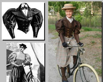 """Bicycle Outfit - Victorian Reproduction PDF Pattern - 1890's -  36"""" Bust -  made from original 1895 La Mode Illustree  pattern"""