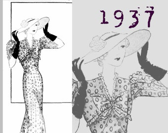 Summer Dress (37in/96cm bust) - 1930's - Vintage Reproduction PDF Pattern -  made from original 1937 Pattern (similar to La Mode Illustree)