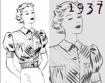 Blouse of striped fabric (Bust 34 inches) - Vintage Reproduction PDF Pattern - 1930's - made from original 1937 pattern