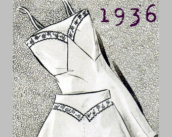 """1930's Lingerie Set (Bust 90cm/35"""") - 1930's - Vintage Reproduction PDF Pattern -  made from original 1936 Pattern"""