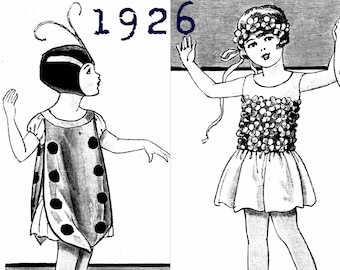 Fancy Dress/Masquerade/Halloween dress - Girl aged 4 to 6  - Vintage Reproduction PDF Pattern - 1920's - made from original 1926 pattern