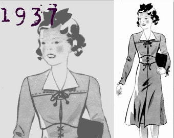 Dress for a 14 year old girl - 1930's - Vintage Reproduction PDF Pattern - made from original 1937 Pattern