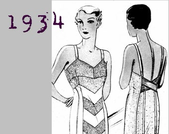 "Low Back, Long Line Corselette/Girdle (Bust size 108cm/42"") - 1930's - Vintage Reproduction PDF Pattern -  made from original 1934 Pattern"