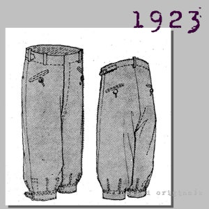 1930s Men's High Waisted Pants, Wide Leg Trousers Mens Sports Knickerbockers or Plus Fours - Vintage Reproduction PDF Pattern - 1920s - made from original 1923 pattern - Waist 100cm $12.10 AT vintagedancer.com